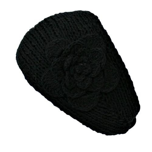 Black Hand Made Knit Headband With Flower Detail