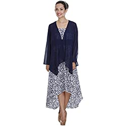 Meiro High Quality Women's Long sleeve shrug with handkerchief bottom (15263_Navy_X-Large) , designed in New York
