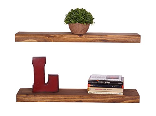 DAKODA LOVE - Rustic Luxe True Floating Shelves (Set of 2) USA Handmade, Pine Wood (2H x 24W x 5.5D, Walnut)