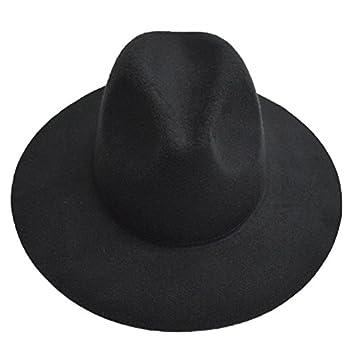LETSQK Men's Vintage Black Wool Felt Wide Brim Fedora Hats