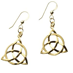 Delicate Triquetra Trinity Knot Gold Dipped Earrings on French Hooks