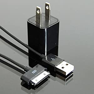 USB Wall Charger +6 Foot Black Long Cable Charging Cable for ALL iPhone iPod iTouch with Cable Organizer