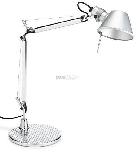 Artemide Tolomeo Micro Tischlampe mit Fuss, Länge 45 Höhe 37 max 73 cm, Aluminium