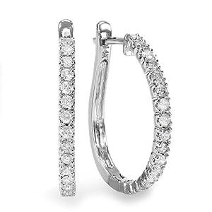 0.50 Carat (ctw) 14k White Gold White Round Diamond Ladies Hoop Earrings 1/2 CT