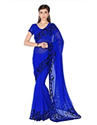 Designersareez Women Blue Faux Georgette Saree With Unstitched Blouse (1807)