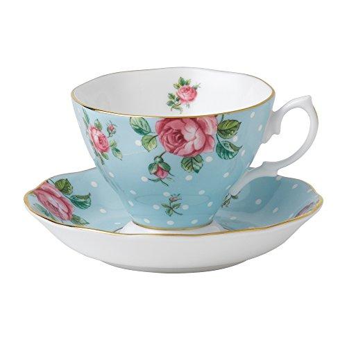 Royal Albert Formal Vintage Teacup and Saucer Boxed Set, Polka Blue Vintage Fine China Japan