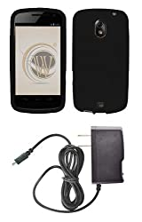 Samsung Galaxy Nexus (Verizon) Premium Combo Pack - Black Silicone Soft Skin Case Cover + ATOM LED Keychain Light + Wall Charger