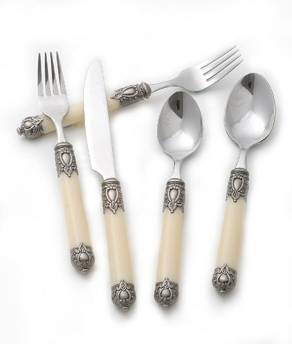 Cream Handle San Remo 20-Piece Flatware Set Service of 4 by Hampton Forge - Elegant vintage-style cream and silver flatware are an affortable way set your tables with style! | http://christmastablescapedecor.com/elegant-silver-table-setting/
