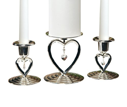 Hortense B. Hewitt Wedding Accessories Silver-plated Heart to Heart Candle Stands, Set of 3