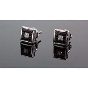 .925 Sterling Silver White Square White & Black Onyx Crystal Micro Pave Unisex Mens Stud Earrings