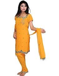 Exotic India Blazing-Orange Choodidaar Kameez Suit With Embroidered Bea - Orange