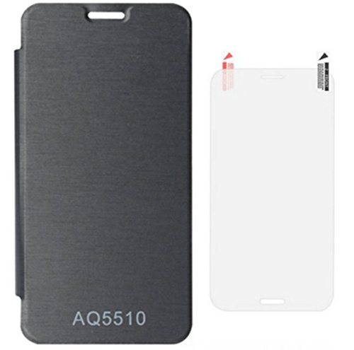Tidel Premium Flip Cover Case for Micromax Yureka Yu YUREKA Aq5510 Mobile (Black)+screen guard