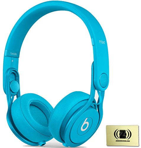 Beats By Dr. Dre Light Blue Mixr On-Ear Dj Headphones Bundle With Zorro Sounds Cleaning Cloth