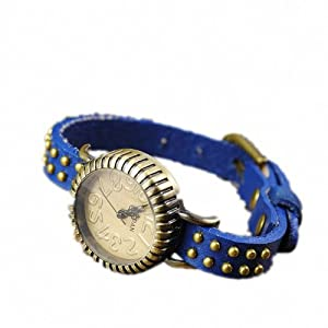 P&o Vintage Girls Students Trendy Bead Studded Genuine Leather Slim Band Bracelet Wrist Watch Blue