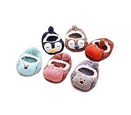 Anbaby Cute Cartoon Feather Yarn Anti-slip Baby Floor Socks Toddlers Socks 6 Pairs (2-3 Years)