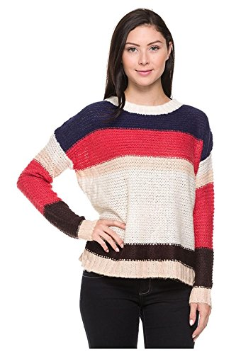 G2 Chic Women's Long Sleeve Striped Knit Casual Sweater Top(TOP-SWT,DBL-L)