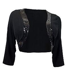 eVogues Plus Size Sequin Trim 3/4 Sleeve Cropped Bolero Shrug Black - 1X