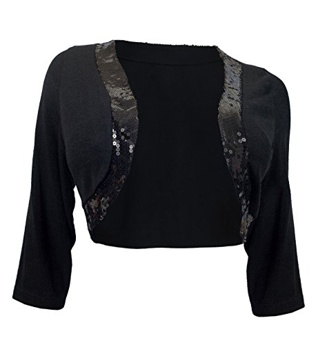 Plus Size Sequin Trim 3/4 Sleeve Cropped Bolero