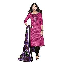 Stylish Girls Pink Cotton Dress Materials