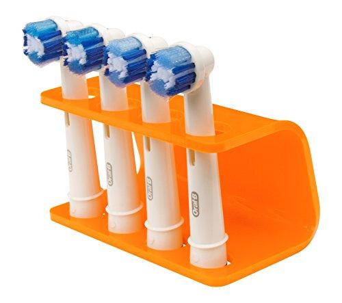 Seemii Zahnbürsten Halter für Oral-B Elektrische Zahnbürsten Köpfe, passen 2 oder 4 Köpfe, Orange Mandarine (4 Köpfe)