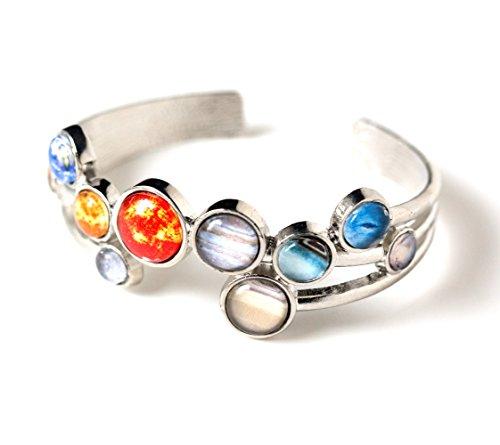 Solar System Bracelet - Silver Tone Adjustable Cuff