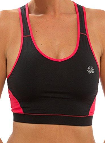 Da donna per palestra/Sport, Fitness Mix and Match coordinati e slip, colore: nero e blu, viola o rosa, misura piccola, media e grande nero Crop Top-Black/Pink Medium-UK 12-14