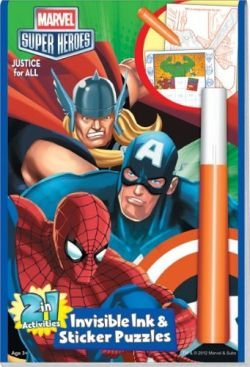 Marvel Heros: Justice for all 2in1 Invisible Ink and Sticker Puzzle Book - 1