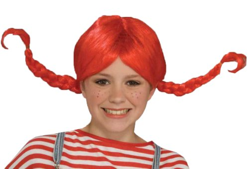 Forum Pippi Longstocking Wig, Red, One Size