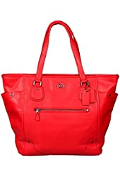 COACH GRAIN LEATHER MICKIE TOTE, STYLE # F34039, CARDINAL