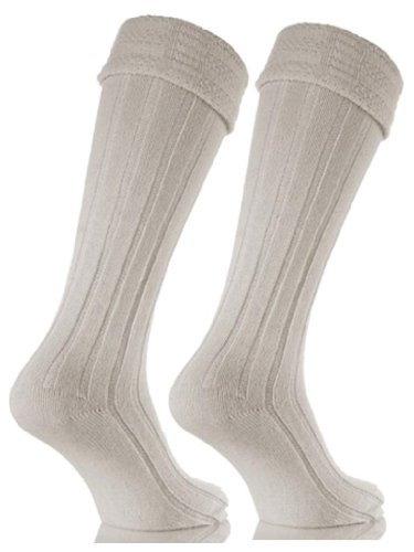 Mens Cream Wool Blend Kilt Wedding Hogmany Socks