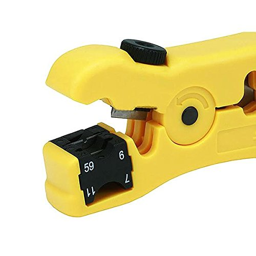 AODE Wire Stripper Cutter for Round / Flat UTP Cat5 Cat6 Coax Coaxial Cable Stripping Universal Tool