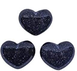 3 Blue Goldstone Gemstone Puffy Hearts Each Organza Pouch