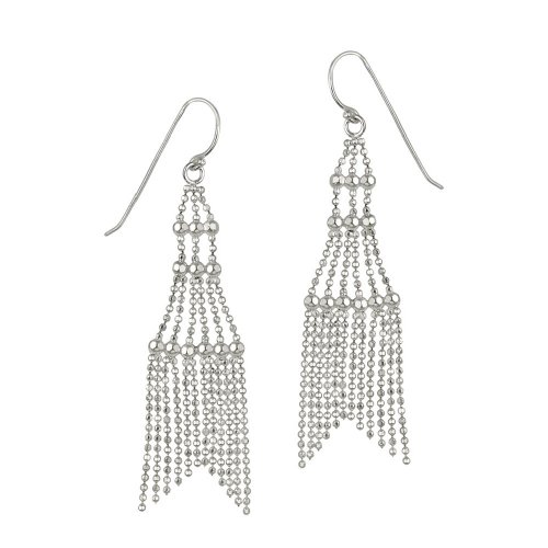 Sterling Silver Sparkle Chain Chandelier French Wire Earrings