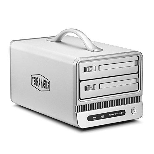 TerraMaster F2-NAS 2 - Personal Cloud Storage Festplattengehäuse mit bis zu 8TB Kapazität, 2 Bay NAS, RAID, iSCSI (Marvell 6282, 1,6GHz, 512MB DDR3 RAM, 2x 8,9 cm (3,5 Zoll), USB 2.0)