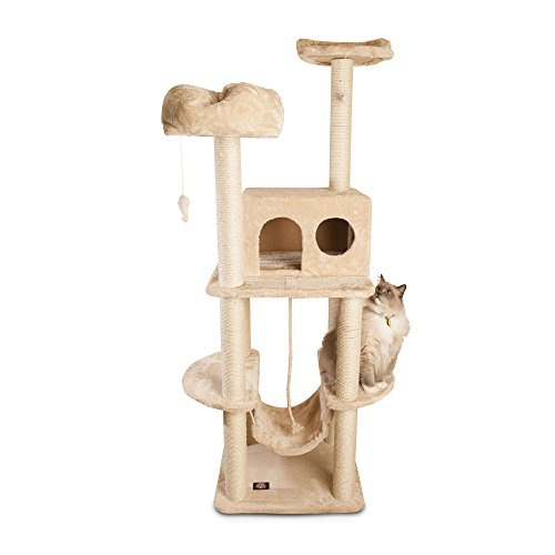 """76"""" Casita Fur Cat Tree In Tan Color - Premium Cat Tree For Large Cats And Kittens, Cat Furniture Bundles With Scratching Post, Cat Condo, Cat Tree Hammock And Cat Toys, Cheap Cat Trees And Condos front-590183"""
