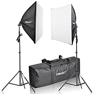 Emart 1050 Watt Photography Continuous Lighting Studio Portrait Kit with Carrying Case with Softbox, and 2 Light Stands, Product Photography and Video Shooting