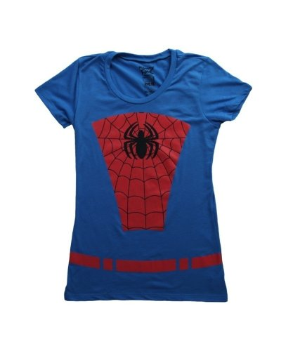 [Womens Spider Man Belted Suit T-Shirt Large] (Blue Spiderman Suit)
