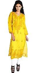 Chikan Wings Yellow Chikan Kurti (CWK0065DP_Mustard_36)
