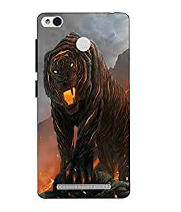 Snazzy Lion Printed Yellow Hard Back Cover For Redmi 3S Prime