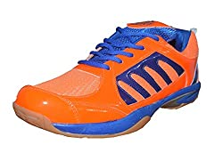 Port Mens Elegance Orange PU Badminton Shoes for men (Size 8 ind/uk)