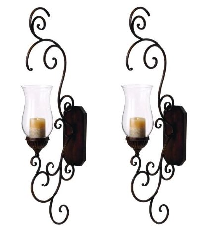 Set of Two Elegant Metal Glass Decorative Wall Sconces [Kitchen] True home loveland