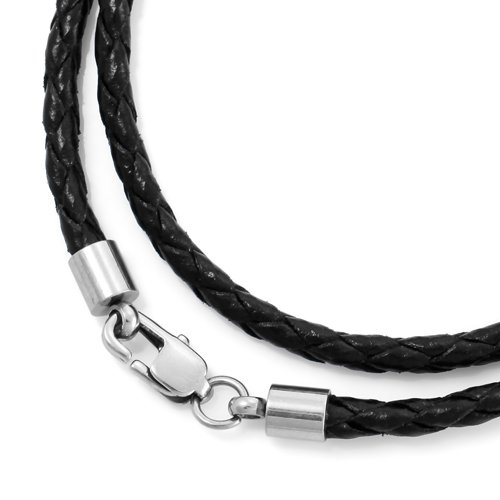 Justeel Men Genuine Leather Cord Necklace Stainless Steel Clasp 3.0mm Wide , with Gift Box, (Width x Length: x inches)