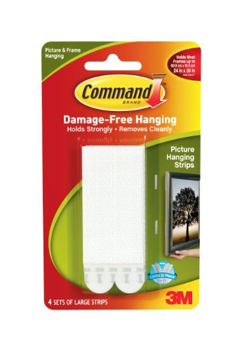 3M Command 17206 White Picture-Hanging Strips, Large