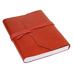 Creoly A5 Handmade Classic Leather Journal w/ Wrap Tie Closure (Red) (Red Journal)