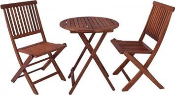 Balkon-Set Gartentisch 2 Gartenstuhle klappbar Eukalyptus FSC Holz, geölt