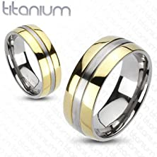 buy Tir-0012 Solid Titanium 2-Tone Gold Ip Edges Band Ring; Comes With Free Gift Box (7)