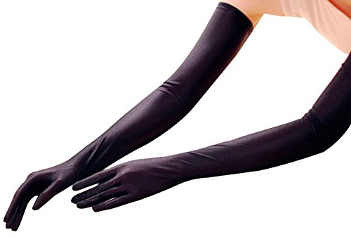 EPYA Women's Long Satin Elbow Five Finger Gloves Bridal Wedding Party, Black