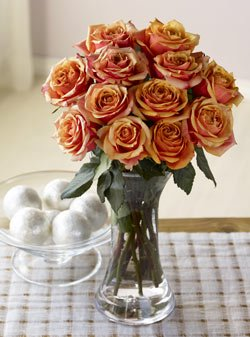 One Dozen Sunset Roses