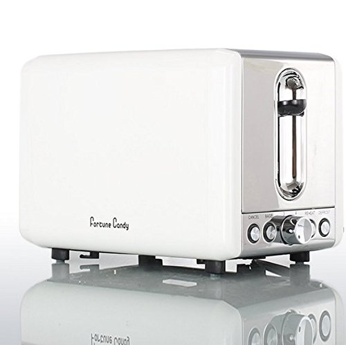 Fortune Candy KST009 Stainless Steel 2 Slices Toaster in Elegant White