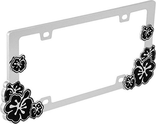 Hibiscus (Black) - License Plate Frame (License Plate Frame Hibiscus compare prices)